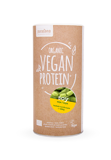 Purasana Vegan protein SOY SOJA BAOBAB - VANILLA Isolate 90% 400 Gramm BIO