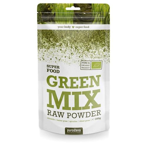 Purasana Superfood GREEN Super Mix 100 % Raw Powder BIO 200 Gramm Austria