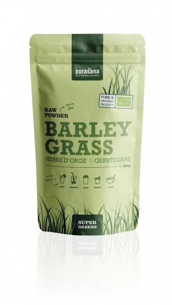 Purasana Superfood GREENS BARLEY GRASS / GERSTENGRAS Raw Powder 200 Gramm